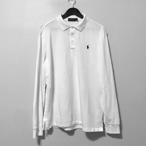 White Long-Sleeve Polo by Ralph Lauren
